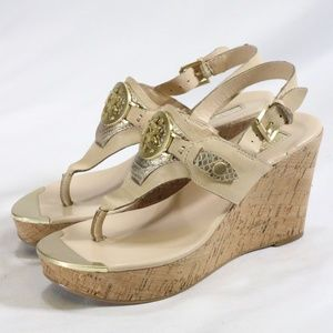 GUESS Marcina Quattro G Taupe Leather Wedges